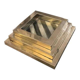 1970s Italian Mid-Century Modern Metal & Glass Squared Stacking Trays - Set of 3 For Sale