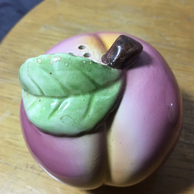 Vintage Peach Shaped Figural Salt & Pepper Shakers - a Pair For Sale In New York - Image 6 of 10