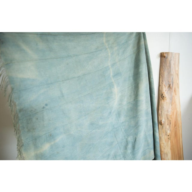 Shabby Chic Vintage Denim Indigo African Textile Throw For Sale - Image 3 of 6