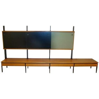 Mid Century European Birch and Lacquer Long Wall Unit For Sale
