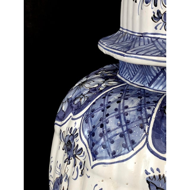 Traditional A Large and Good Quality Dutch 19th Century Blue and White Tin-Glazed Delft Ginger Jar Now Mounted as a Lamp For Sale - Image 3 of 7