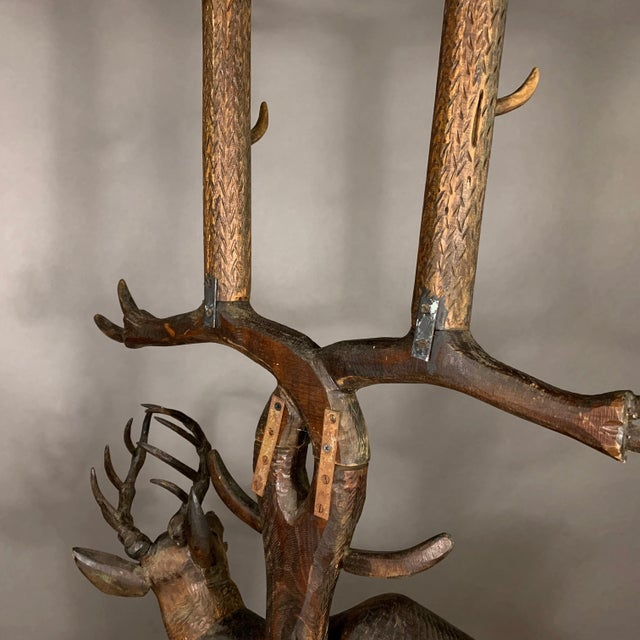 "Large 78"" Black Forest Carved Hall Stand, Eagle and Stag For Sale - Image 12 of 13"