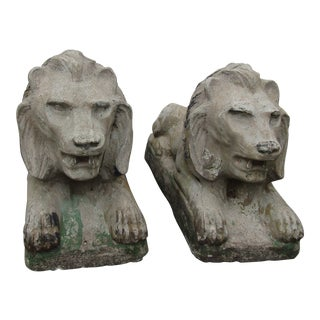 1970s Vintage Cast Stone Lion Statues- A Pair For Sale
