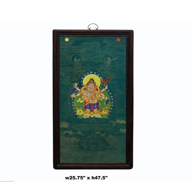 Chinese Porcelain Teal Blue Tibetan Deity Painting Wall Decor For Sale - Image 9 of 9