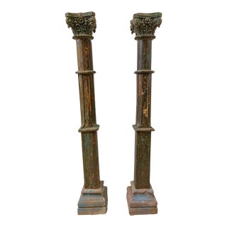 Pair of Early Greco-Roman Columns W/ Capitals For Sale