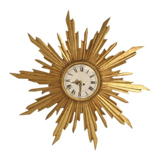 Circa 1890 French Water Gilded Sunburst Clock For Sale