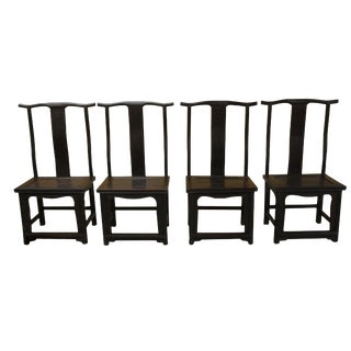 Antique 19th Century Ming Imperial Style Dark Zitan Wood Dining Chairs - Set of 4
