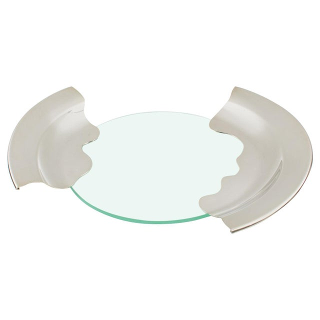 1980s Futurist Silver Plate Glass Platter Bowl Centerpiece For Sale - Image 11 of 11