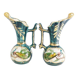 Hand-Painted Belgian Vases, Pr For Sale