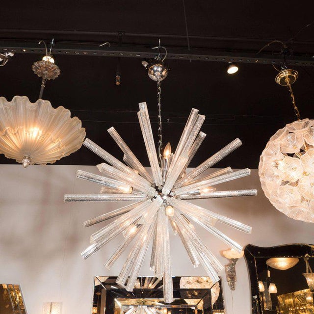 Italian Murano Glass Triedre Chrome Sputnik Chandelier with 24-Carat White Gold Flecks For Sale - Image 3 of 9