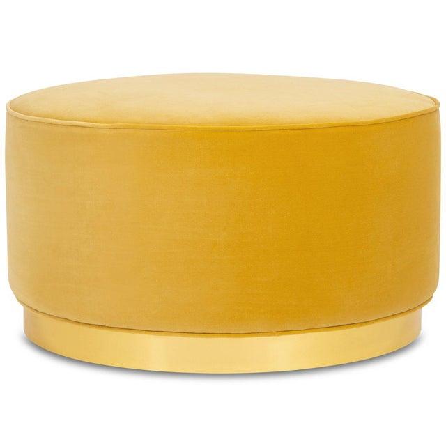 Chubby Ottoman in Mustard Velvet For Sale - Image 4 of 4