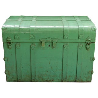 Vintage Sea Green Metal Trunk For Sale