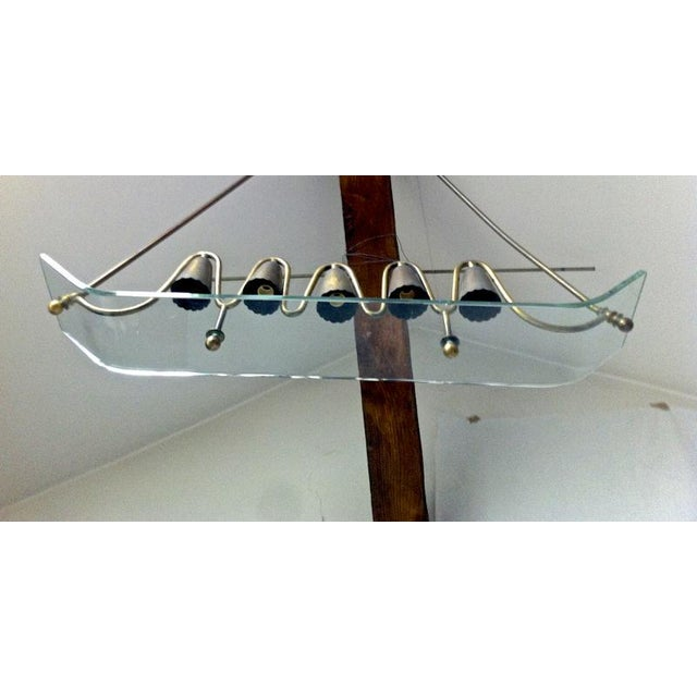 Pietro Chiesa Pietro Chiesa for Fontana Arte Ski Shaped Glass and Brass Chandelier For Sale - Image 4 of 5