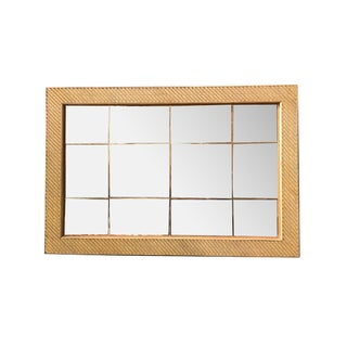 Stick Rattan Rectangle Rattan Peach Glass Mirror W/ Brass Nail Head Accents For Sale