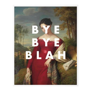 Bye Bye Blah by Lara Fowler in White Framed Paper, Large Art Print For Sale
