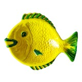 Image of Vintage Yellow Green Italian Pottery Fish Dish For Sale