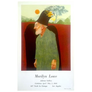 Marilyn Lowe Rare Vintage 1981 Lithograph Print Surrealist Ankrum Gallery Exhibition Poster For Sale
