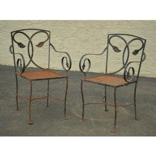 Salterini Vintage Pair of Wrought Iron Patio Garden Armchairs Preview