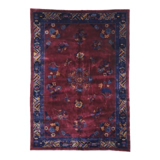 Antique Chinese Mandarin Rug With Manchester Wool - 10'10 X 15'03 For Sale