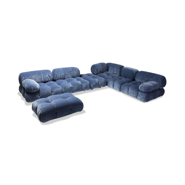 Mario Bellini Camaleonda Sectional Sofa in Blue Velvet For Sale - Image 9 of 9