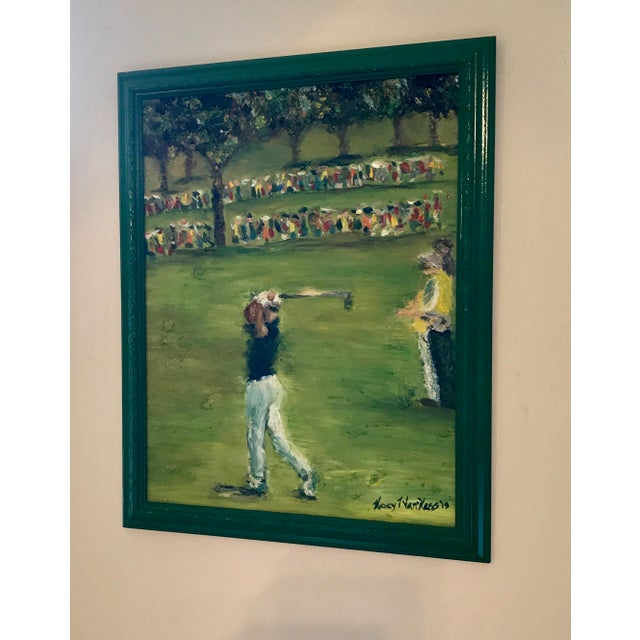 Tiger Woods Pga Golf Original Framed Oil Painting Signed Art For Sale - Image 9 of 10
