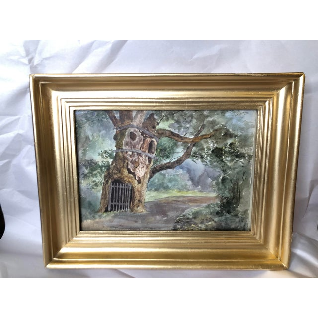 For sale is an antique watercolor painting. This Impressionist style piece was painted in 1891 and depicts knotted oak...