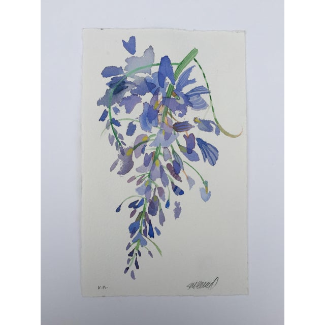 """Weeping Wisteria 1"" Original Watercolor Painting - Image 2 of 3"