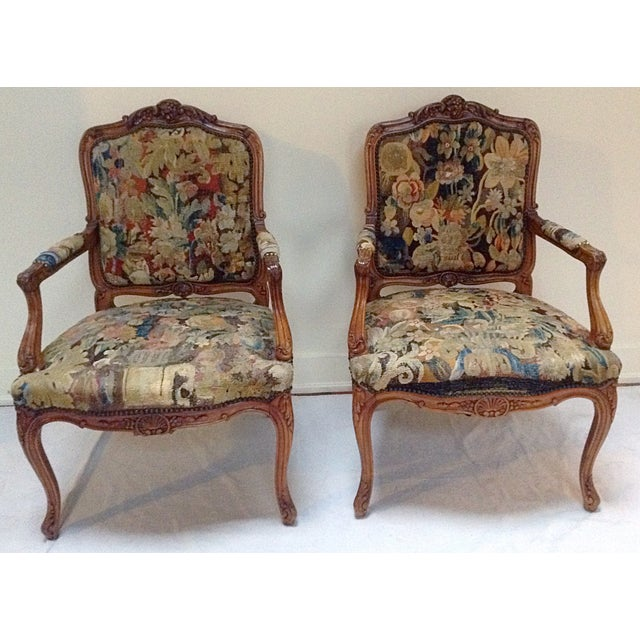 Beautiful pair of antique French chairs with antique tapestry textile  upholstery. - Antique French Tapestry Upholstered Chairs - A Pair Chairish