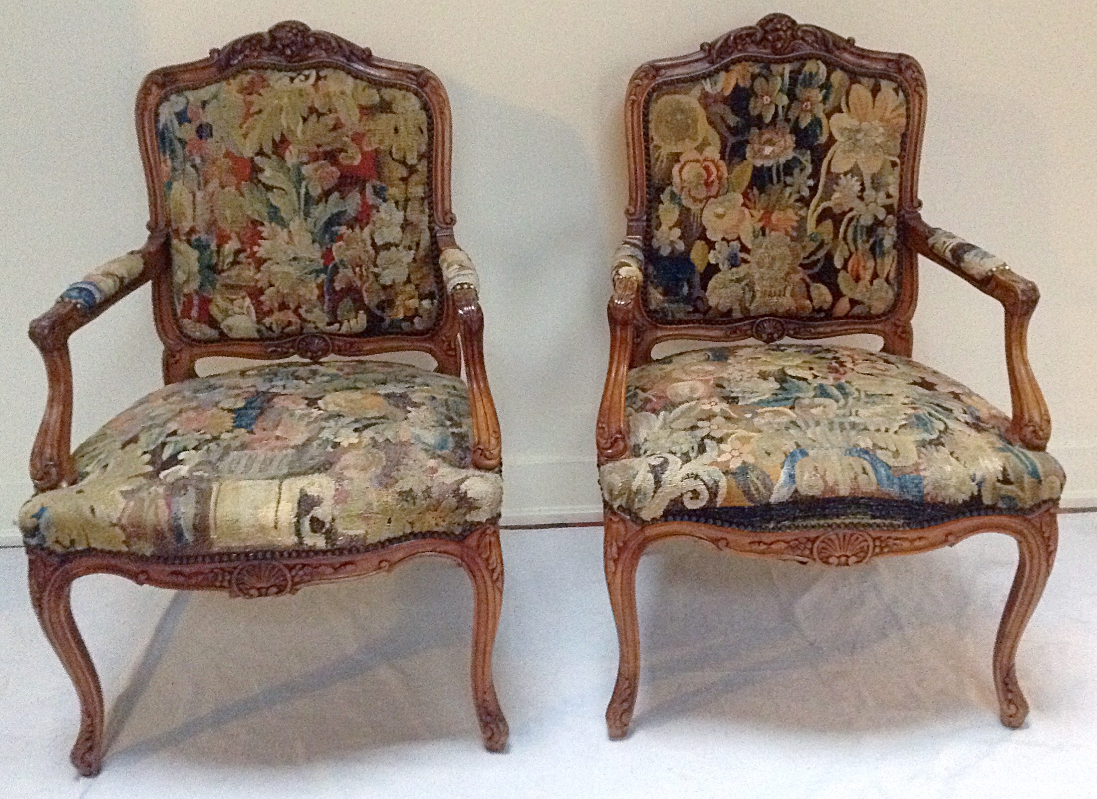 Antique French Tapestry Upholstered Chairs   A Pair   Image 2 Of 8