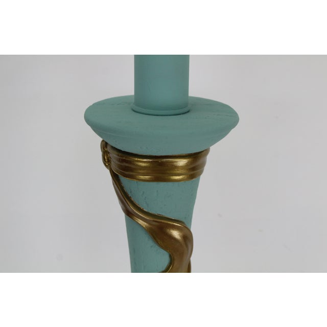 Plaster Mid-Century Plaster Ribbon Table Lamps After Dorothy Drapper For Sale - Image 7 of 12