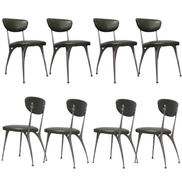 "Shelby Williams Sculptural Aluminum Frame ""Gazelle"" Chairs - Set of 8 For Sale - Image 11 of 11"