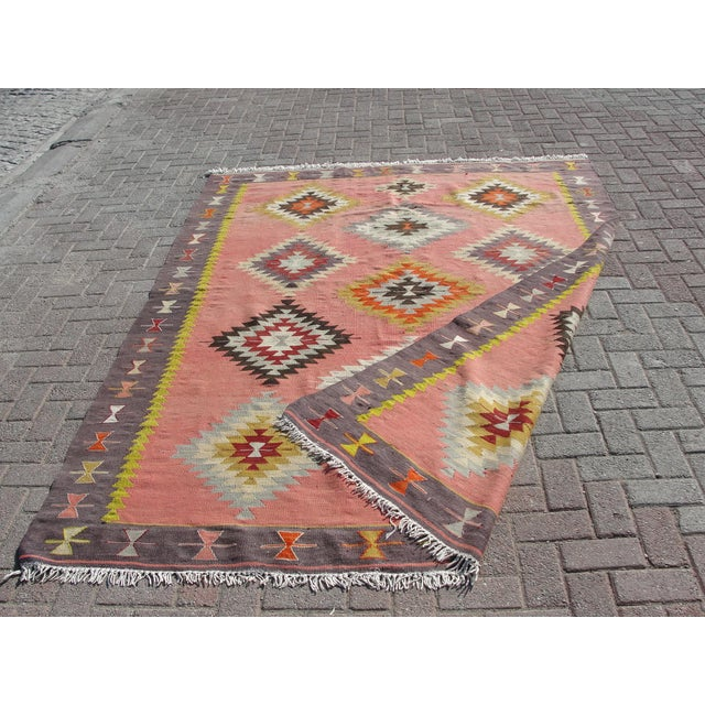 Vintage Turkish Kilim Rug - 6′5″ × 8′9″ For Sale - Image 11 of 11