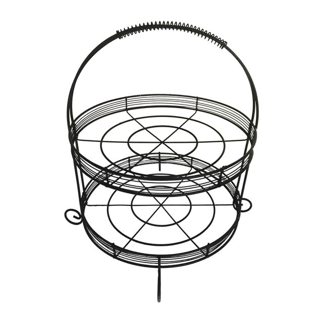 French Country Two-Tiered Wire Stand - Image 1 of 4