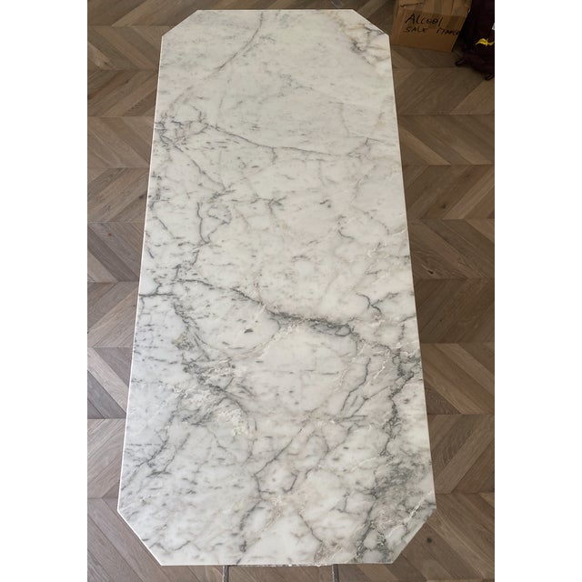 Hollywood Regency Arabescato Marble Dining Table For Sale - Image 3 of 8