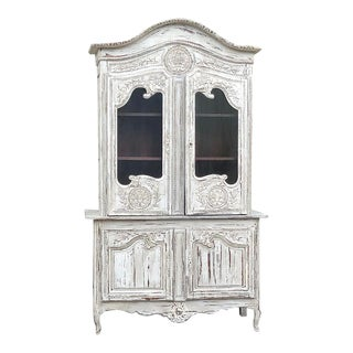 18th Century Country French Painted Bookcase ~ Buffet a Deux Corps For Sale