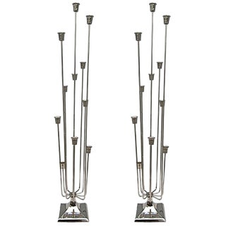 1970s Nickel-Plated Candleholders With Eleven Cups - a Pair For Sale