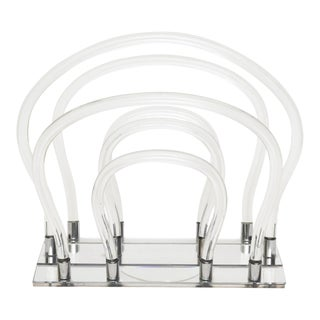 Dorothy Thorpe Lucite, Mylar Chrome and Mirror Loop Magazine Stand Rack Vintage For Sale