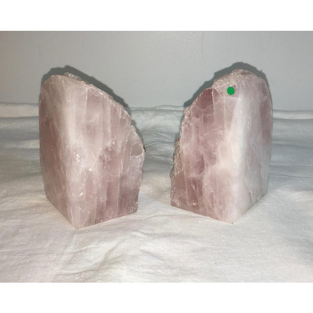 Natural Stone Rose Quartz Bookends - A Pair - Image 4 of 5