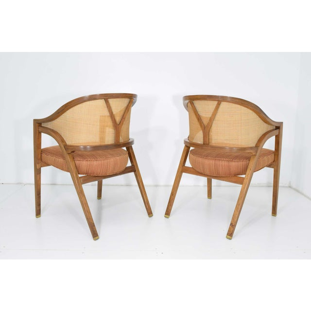 Dunbar Cane Back Lounge Chairs by Edward Wormley - a Pair For Sale - Image 11 of 11