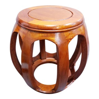 20th Century Asian Antique Natural Red Wood Flower Pot Stand