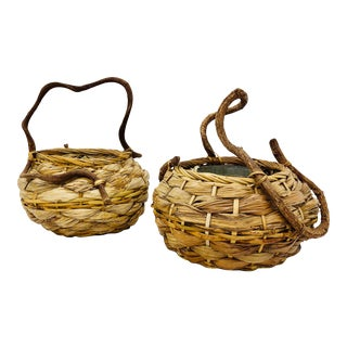 Vintage Woven Wysteria Vine Planter Baskets - a Pair For Sale