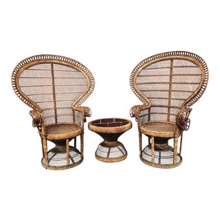 1970s Vintage Emmanuel Style Rattan Peacock Seating Set- 3 Pieces For Sale