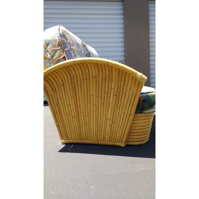 Art Deco Rattan Fan Arm 2 Seat Sofa - Image 7 of 8