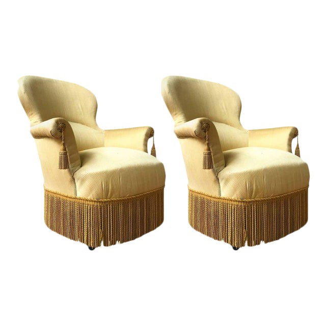 Pair of Large Napoleon III Armchairs in Yellow Fabric - Image 1 of 8