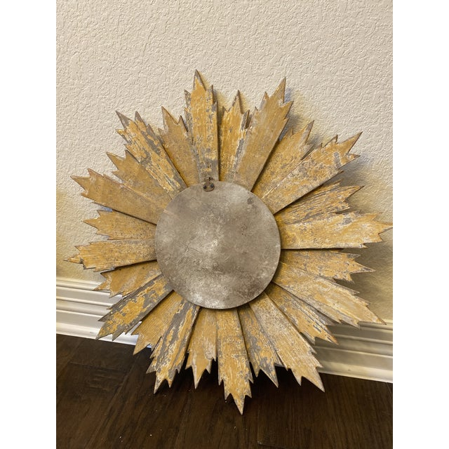 Pair of Italian Sunburst Mirrors With Wood Rays For Sale - Image 9 of 12