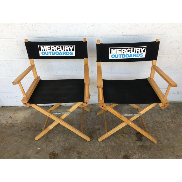 Vintage Wood Folding Director Chairs With Mercury Outboard Advertising - a Pair For Sale - Image 13 of 13