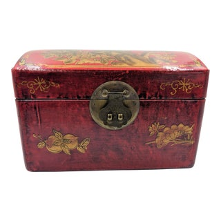 Red Oriental Box With Blossom Detail