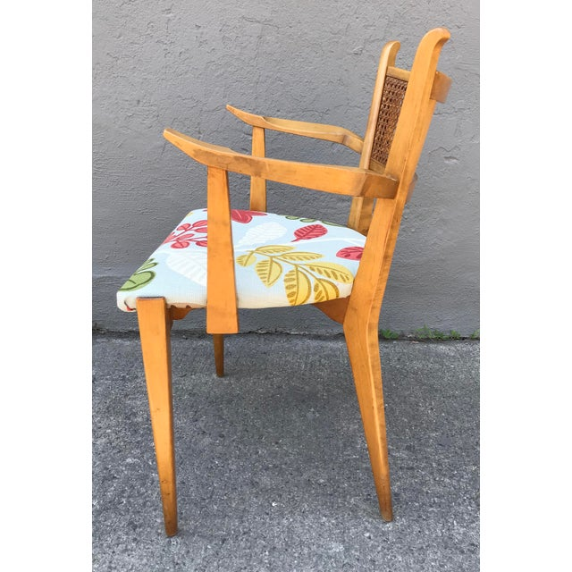Mid-Century Modern 1950s Swedish Edmond Spence Birch and Caning Arm Chair For Sale - Image 3 of 6