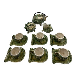 1950s Majolica Conch Shell Tea Service With Teapot, Creamer, Sugar and Cups and Saucers - 9 Pieces For Sale