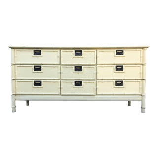 1960s Hollywood Regency Stanley Faux Bamboo Lowboy Dresser For Sale